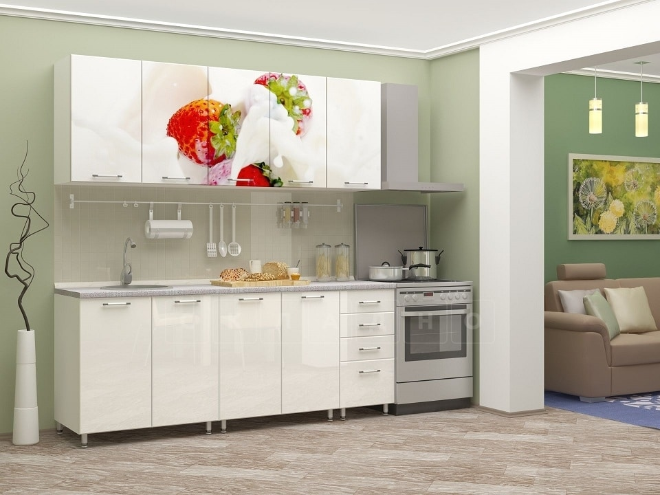 Кухня с фотопечатью Клубника 2,0м фото 2 | интернет-магазин Складно
