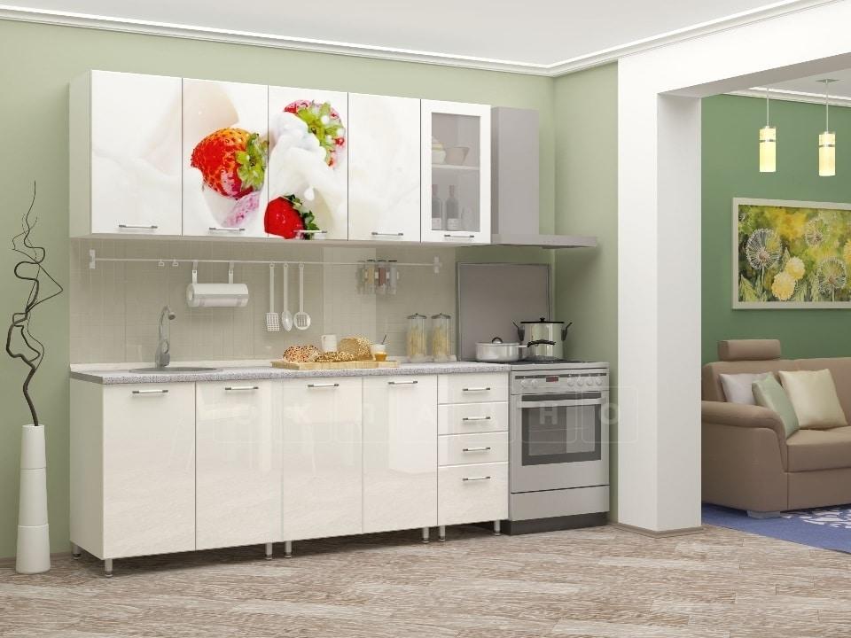 Кухня с фотопечатью Клубника 2,0м фото 1 | интернет-магазин Складно