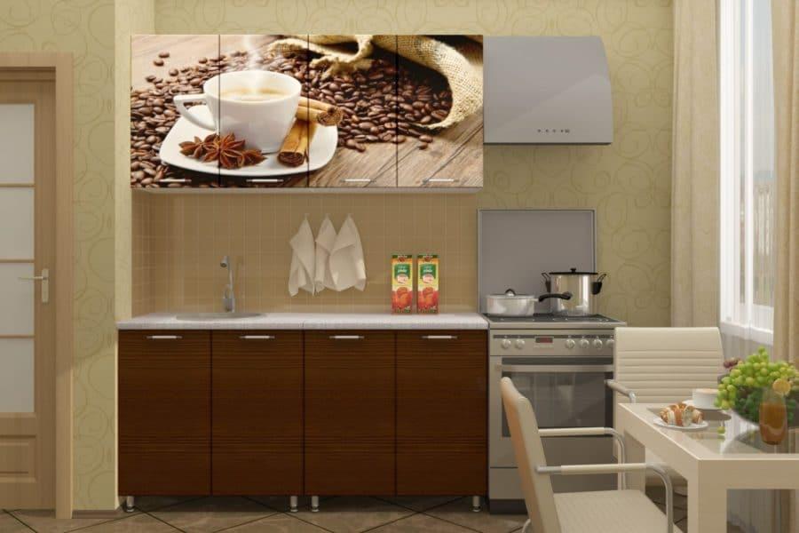 Кухня с фотопечатью Кофе 160см фото | интернет-магазин Складно