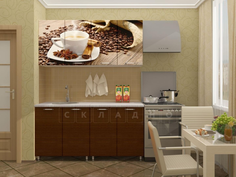 Кухня с фотопечатью Кофе 160 см фото 1 | интернет-магазин Складно