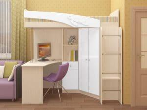 Кровать чердак Бемби с письменным столом 18590 рублей, фото 7 | интернет-магазин Складно