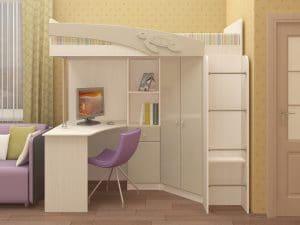 Кровать чердак Бемби с письменным столом 18590 рублей, фото 8 | интернет-магазин Складно