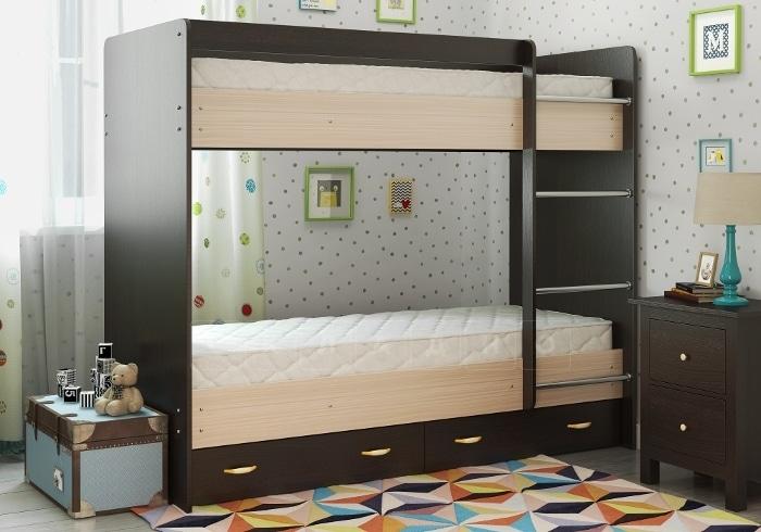 Двухъярусная кровать ЛДСП с ящиками фото 1 | интернет-магазин Складно
