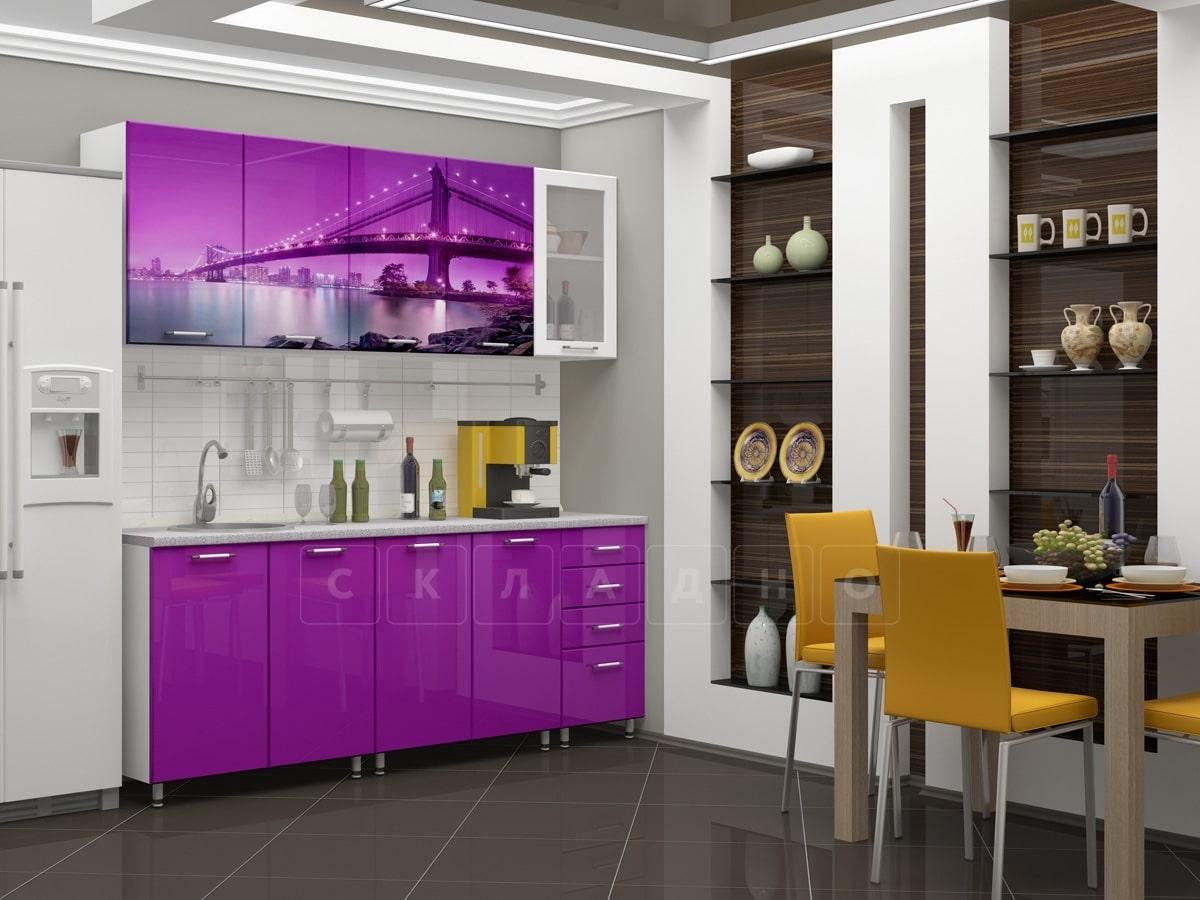 Кухня с фотопечатью Бридж 2,0м фото 1 | интернет-магазин Складно