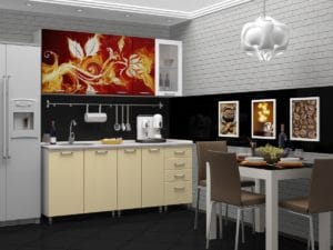 Кухня с фотопечатью Огненный цветок 1,8 м  14490  рублей, фото 1 | интернет-магазин Складно