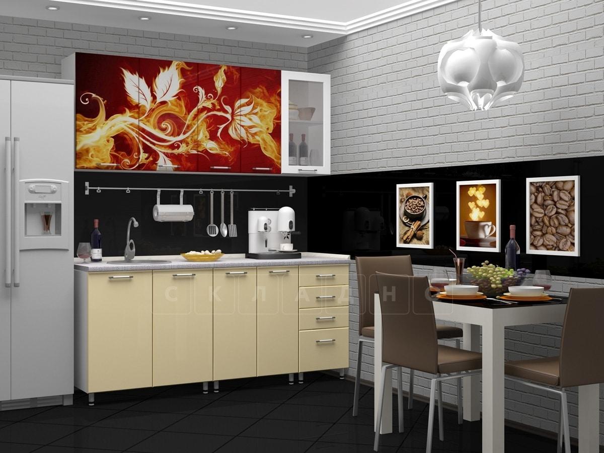 Кухня с фотопечатью Огненный цветок 1,8 м фото 1 | интернет-магазин Складно