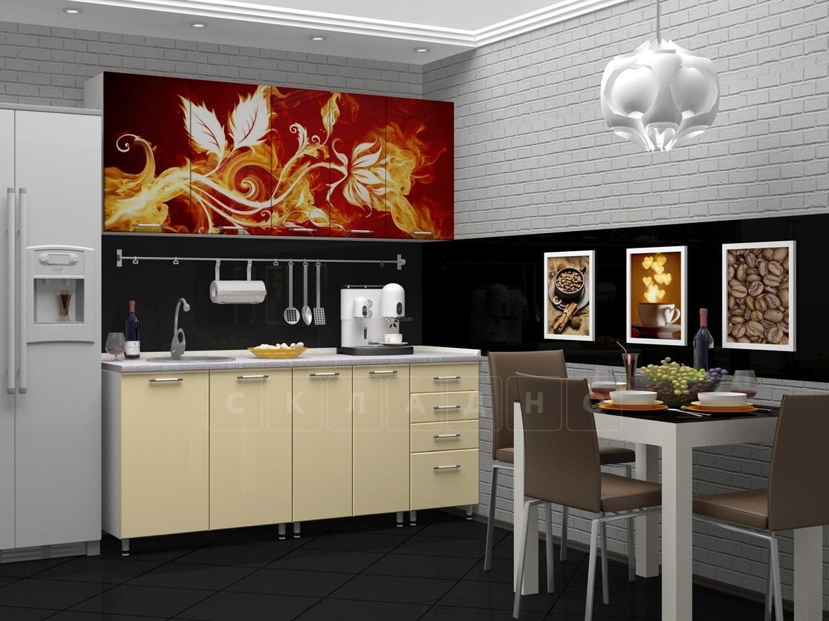 Кухня с фотопечатью Огненный цветок 1,8 м фото 2 | интернет-магазин Складно