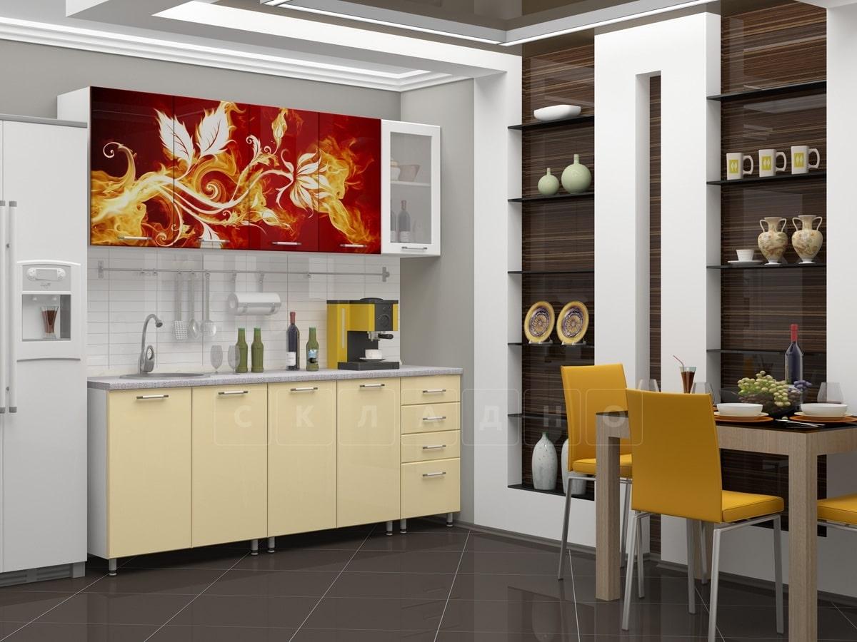 Кухня с фотопечатью Огненный цветок 2,0м фото 1 | интернет-магазин Складно