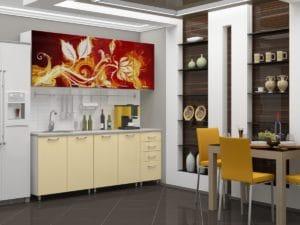 Кухня с фотопечатью Огненный цветок 2,0м 15690 рублей, фото 2 | интернет-магазин Складно