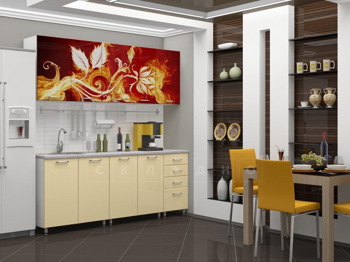 Кухня с фотопечатью Огненный цветок 2,0м фото 2 | интернет-магазин Складно