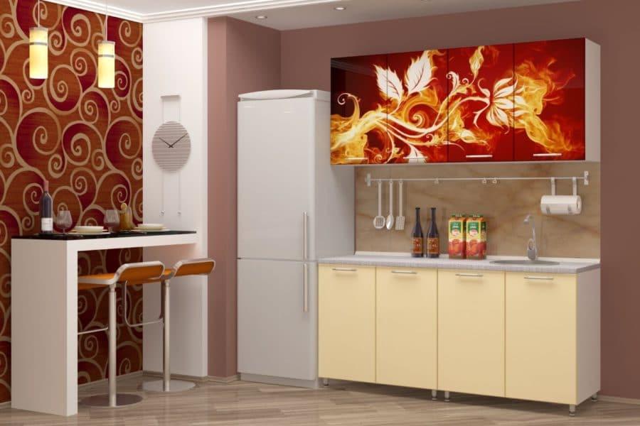 Кухня с фотопечатью Огненный цветок 160см фото | интернет-магазин Складно