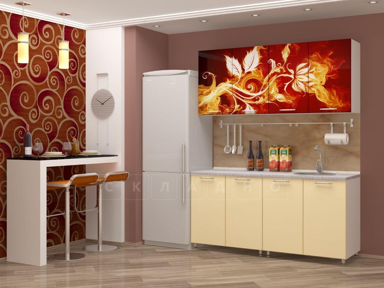 Кухня с фотопечатью Огненный цветок 160см фото 1 | интернет-магазин Складно