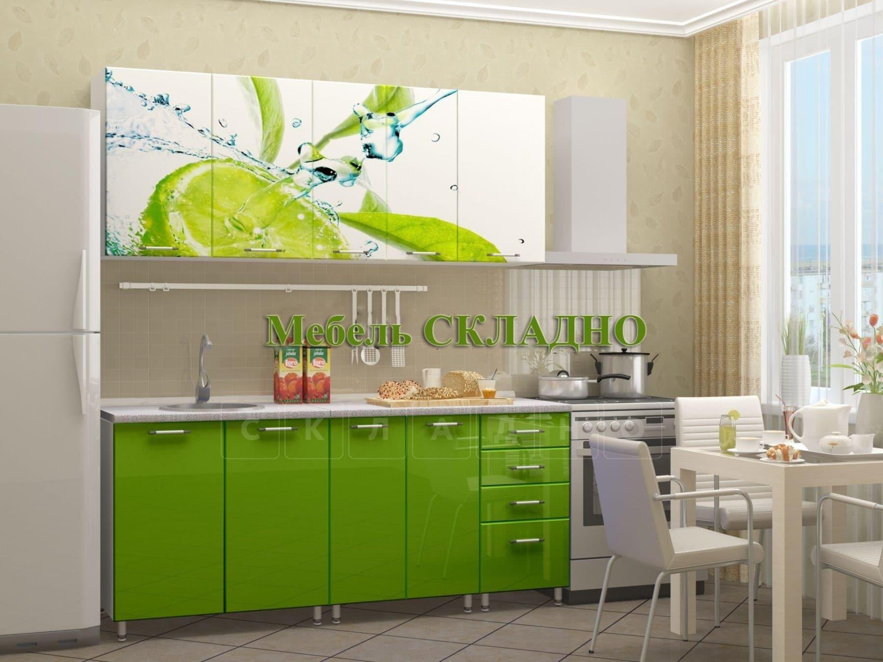 Кухня с фотопечатью Лайм 1,8 м фото 2 | интернет-магазин Складно