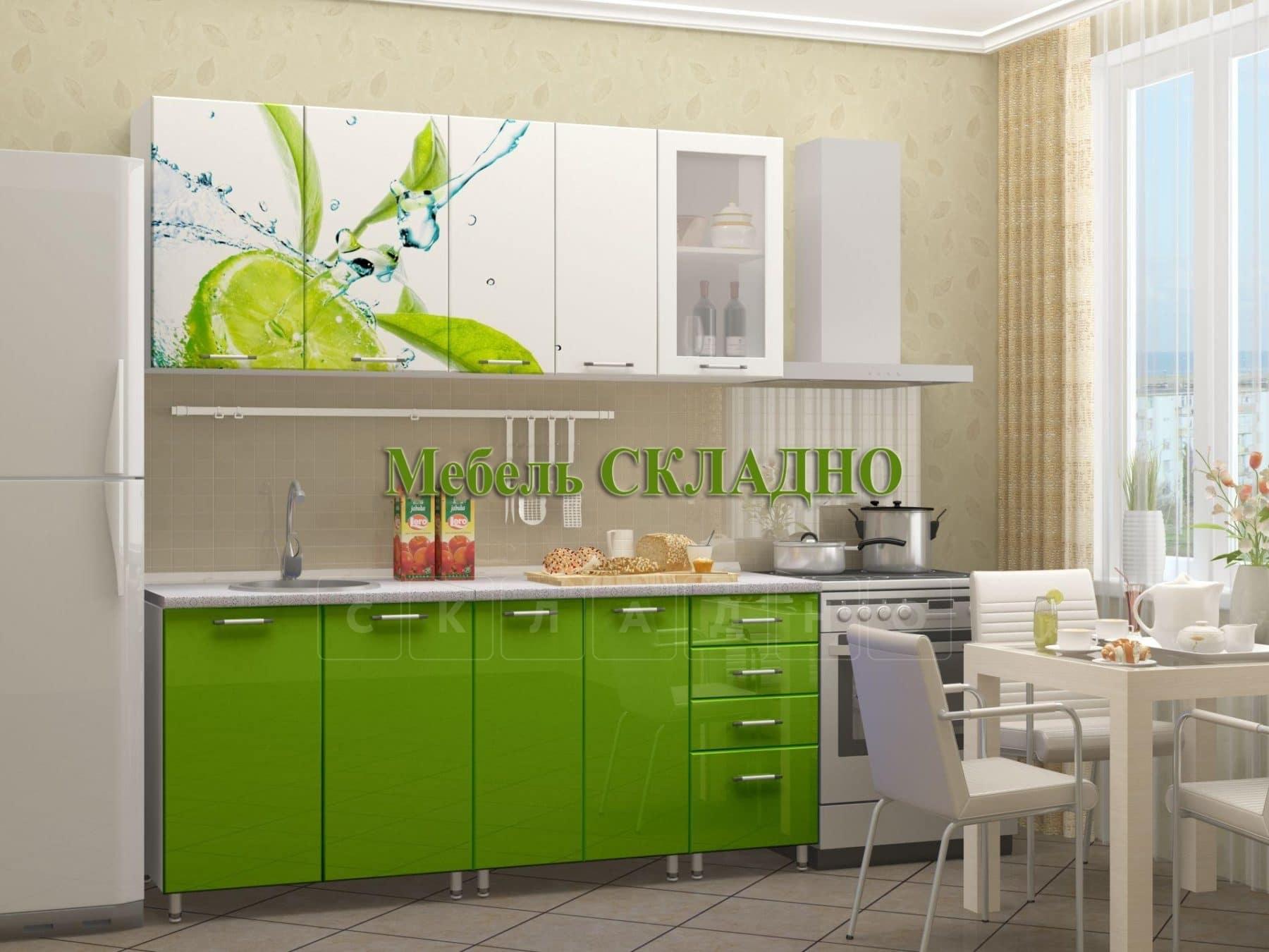 Кухня с фотопечатью Лайм 1,8 м фото 1 | интернет-магазин Складно