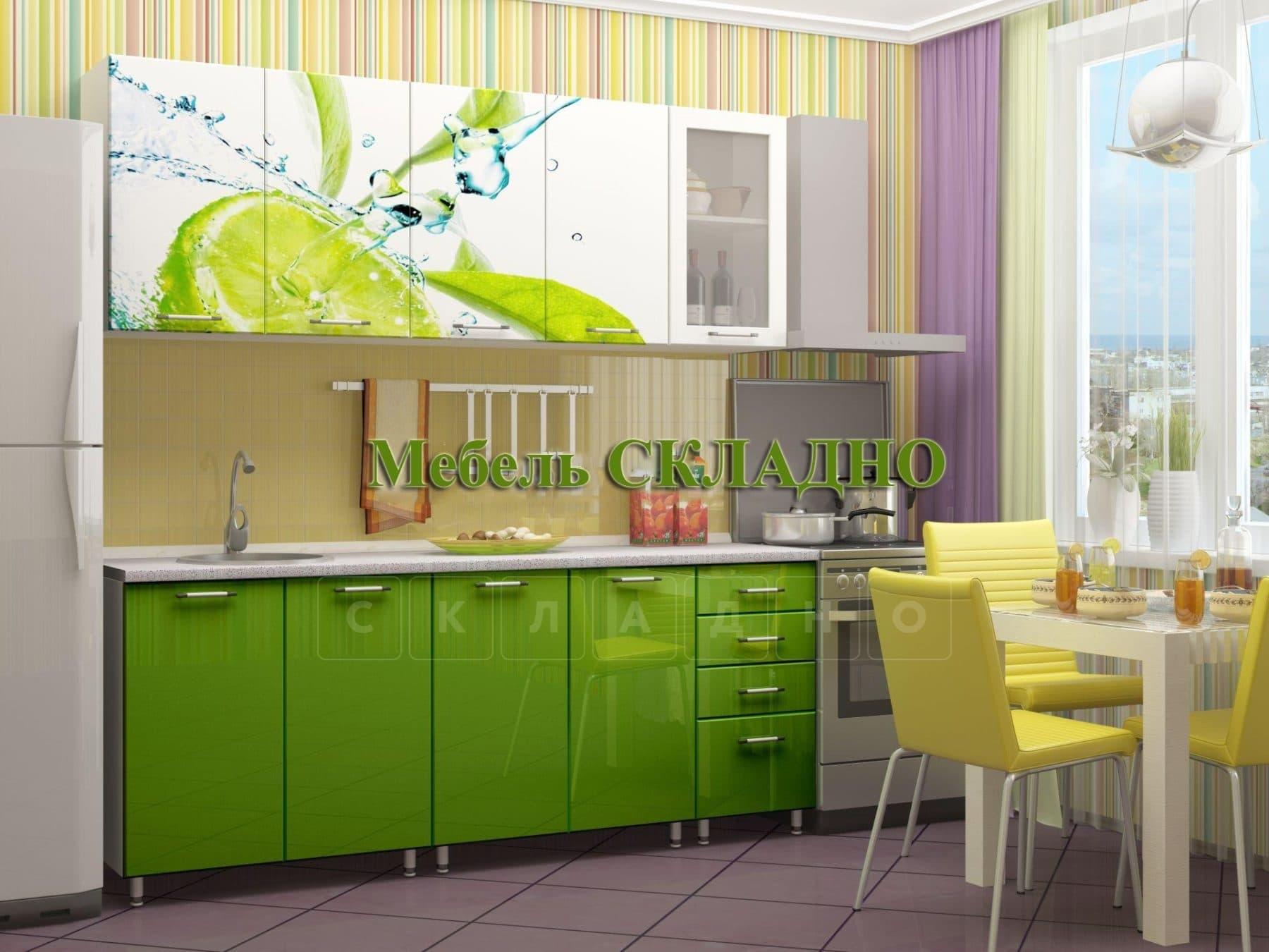 Кухня с фотопечатью Лайм 2,0м фото 1 | интернет-магазин Складно