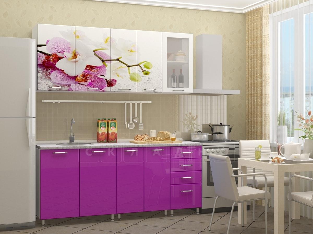 Кухня с фотопечатью Орхидея 1,8м фото 1 | интернет-магазин Складно