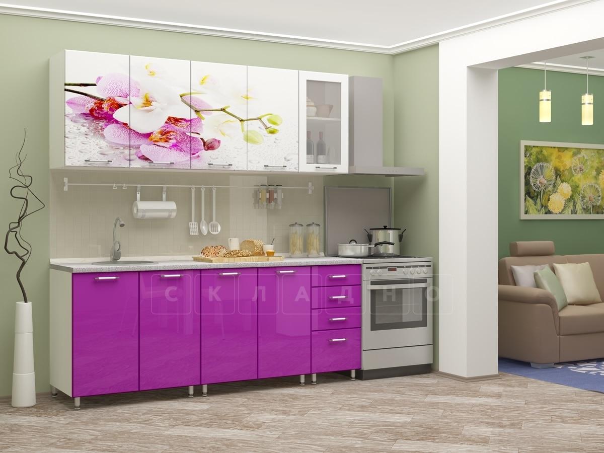 Кухня с фотопечатью Орхидея 2,0м фото 1 | интернет-магазин Складно