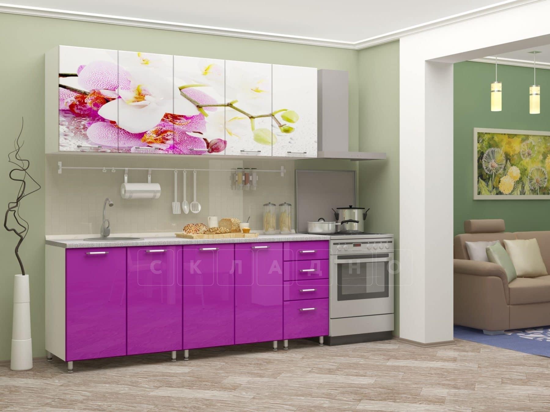 Кухня с фотопечатью Орхидея 2,0м фото 2 | интернет-магазин Складно