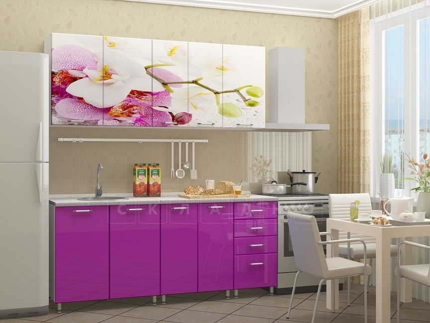 Кухня с фотопечатью Орхидея 1,8м фото 2 | интернет-магазин Складно