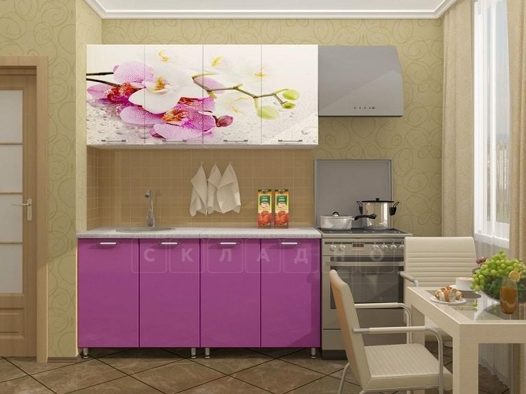 Кухня с фотопечатью Орхидея 160 см фото 1 | интернет-магазин Складно