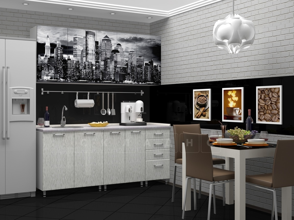Кухня с фотопечатью Сити 1,8 м фото 2 | интернет-магазин Складно