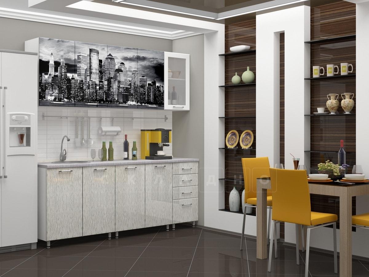 Кухня с фотопечатью Сити 2,0м фото 1 | интернет-магазин Складно