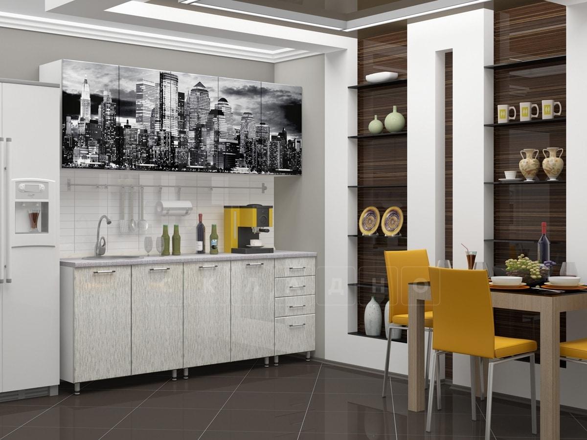 Кухня с фотопечатью Сити 2,0м фото 2 | интернет-магазин Складно