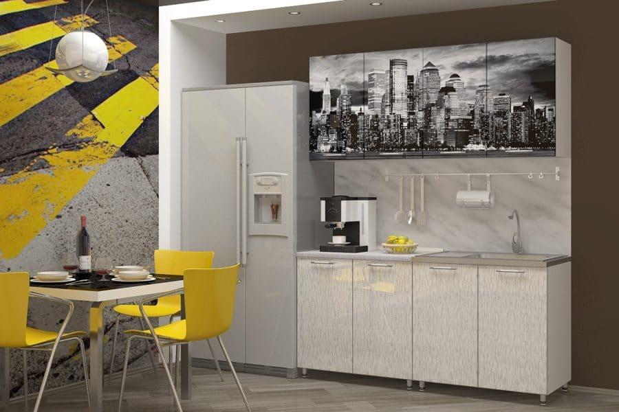 Кухня с фотопечатью Сити 160см фото | интернет-магазин Складно