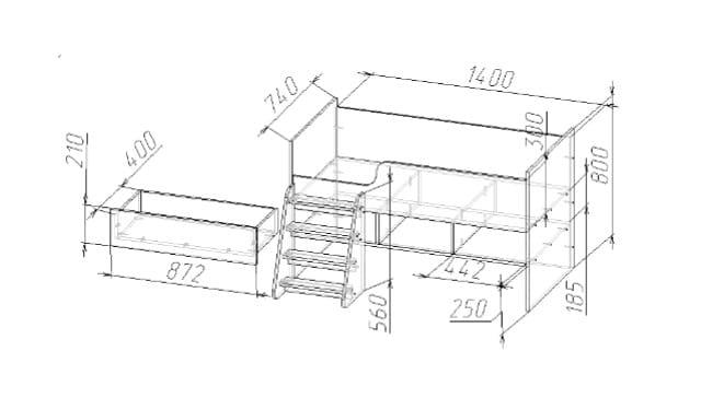 Детская кроватка Юниор-3 ЛДСП с лесенкой фото 2 | интернет-магазин Складно