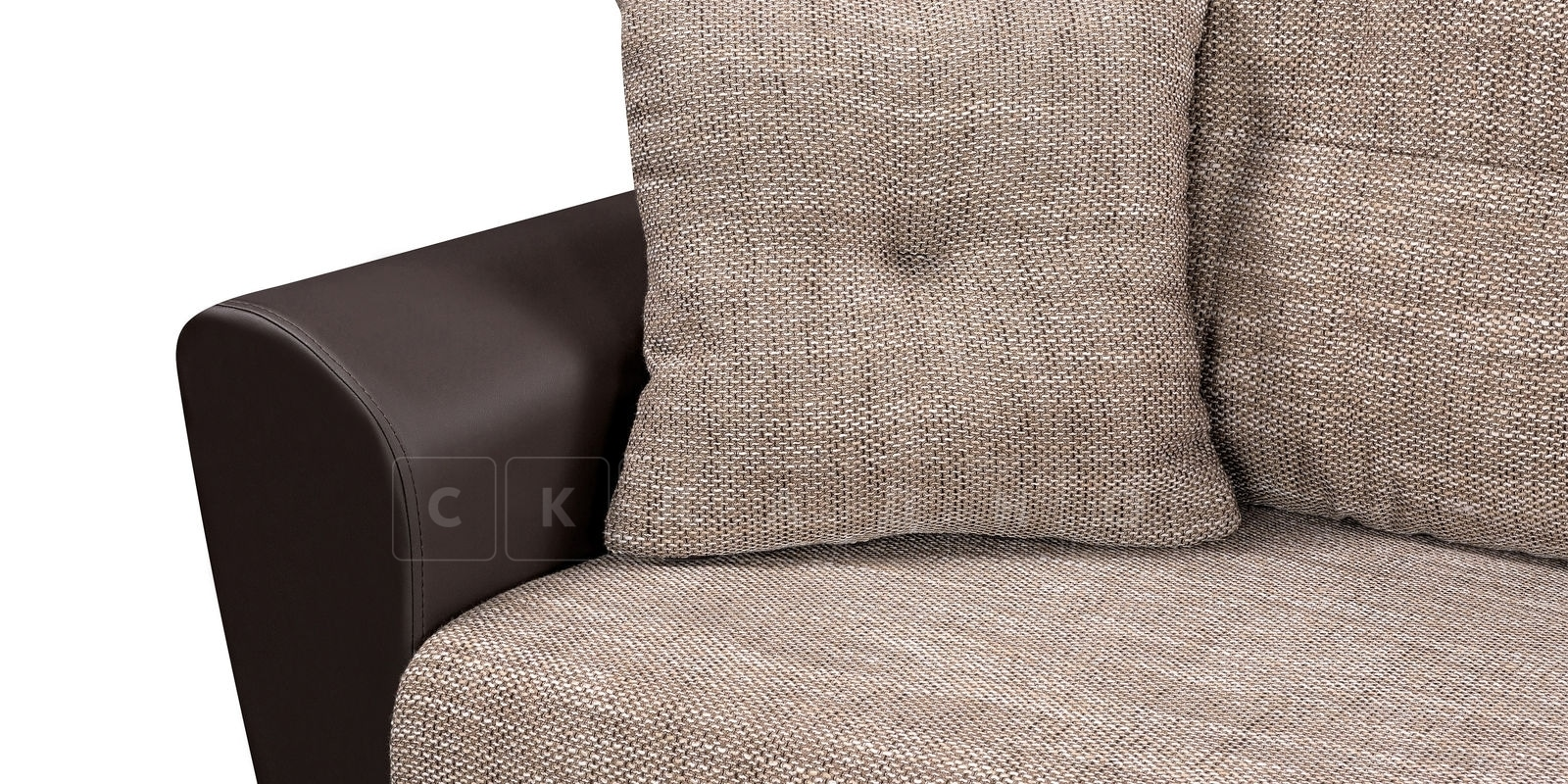 Диван прямой Амстердам кожаный с рогожкой коричневый фото 4 | интернет-магазин Складно
