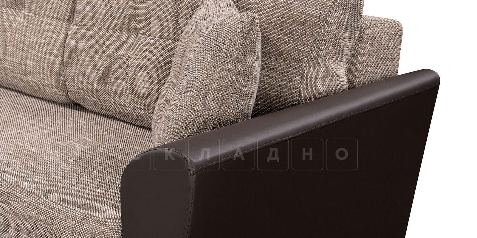 Диван прямой Амстердам кожаный с рогожкой коричневый фото 5 | интернет-магазин Складно