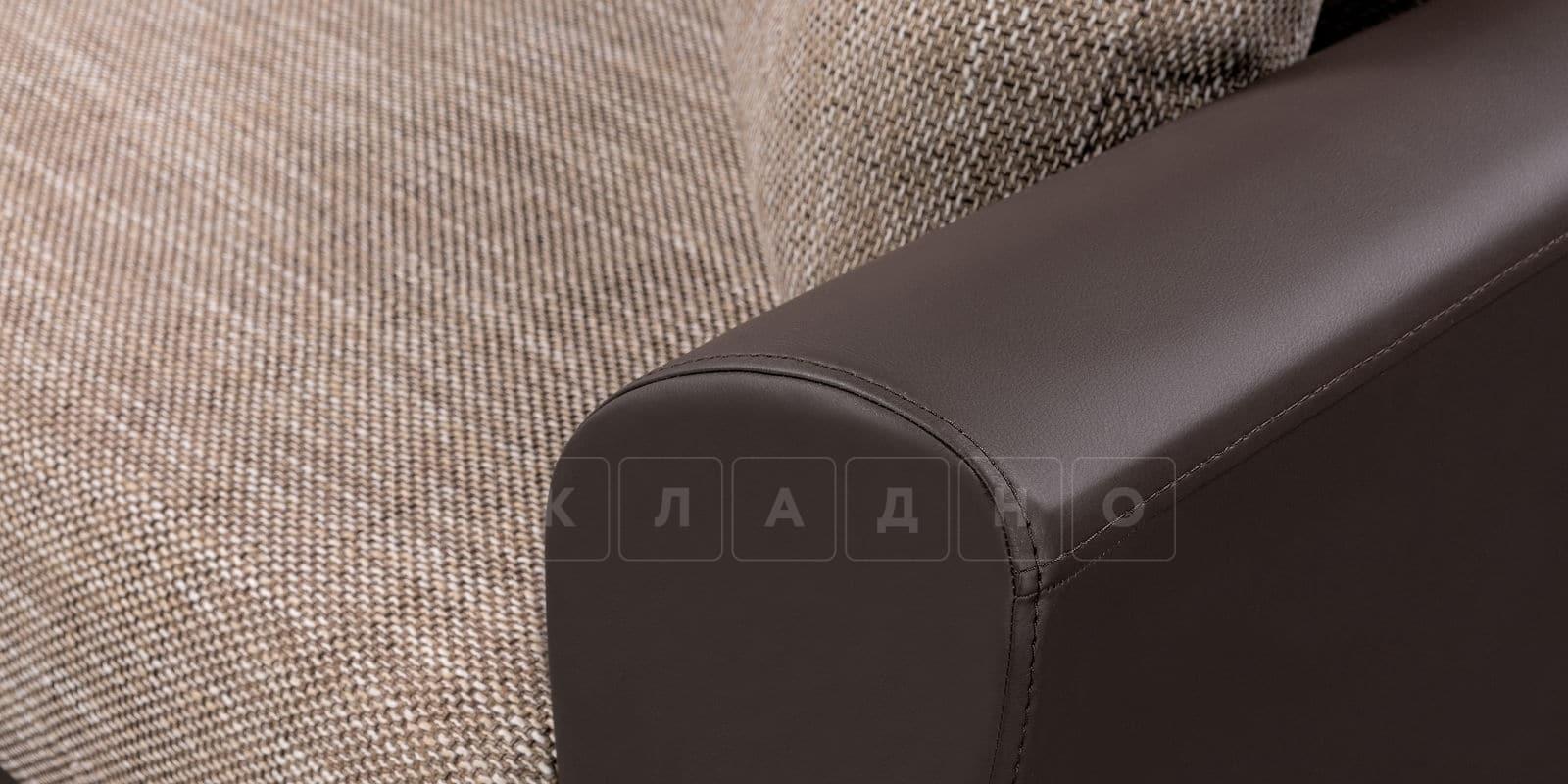 Диван прямой Амстердам кожаный с рогожкой коричневый фото 6 | интернет-магазин Складно