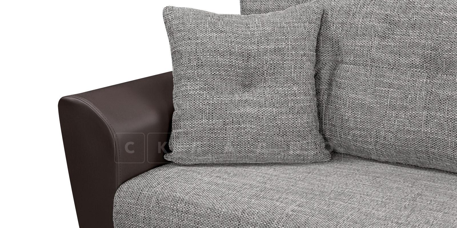 Диван прямой Амстердам кожаный с рогожкой серый фото 4 | интернет-магазин Складно