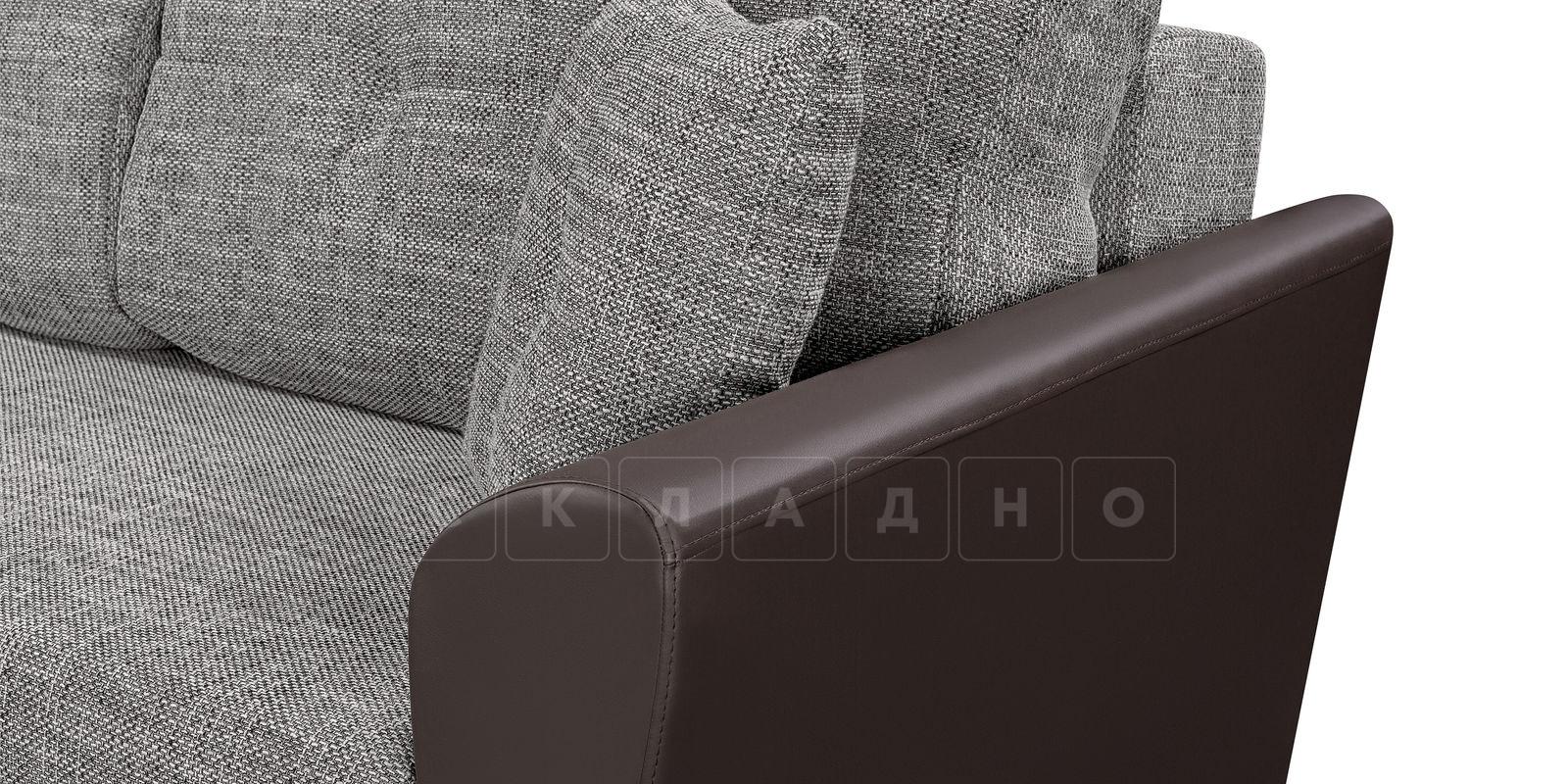 Диван прямой Амстердам кожаный с рогожкой серый фото 5 | интернет-магазин Складно