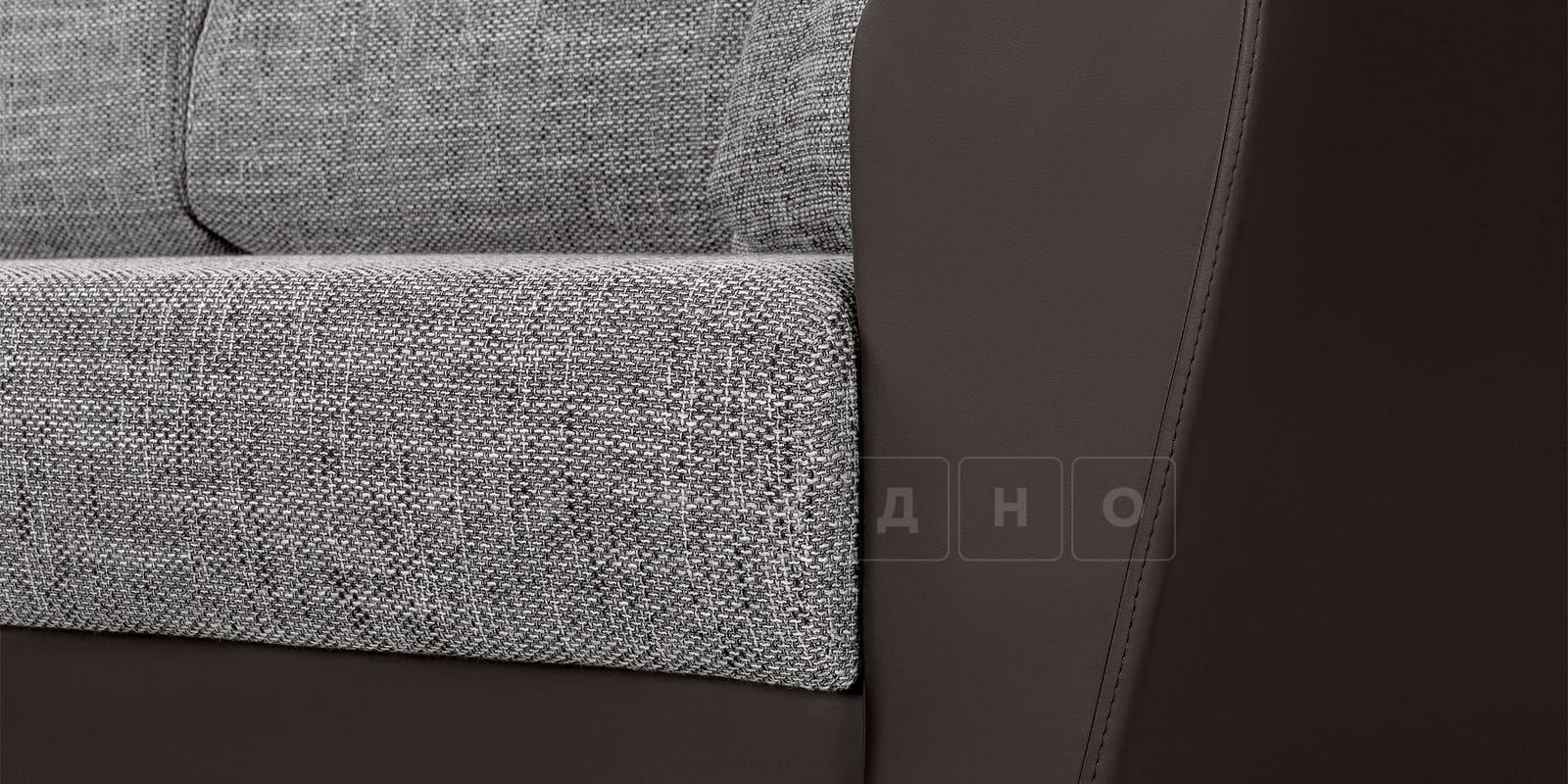 Диван прямой Амстердам кожаный с рогожкой серый фото 6 | интернет-магазин Складно