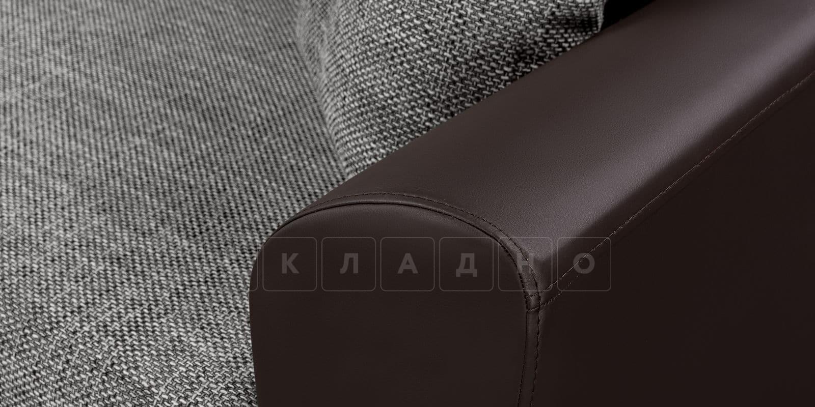 Диван прямой Амстердам кожаный с рогожкой серый фото 7 | интернет-магазин Складно
