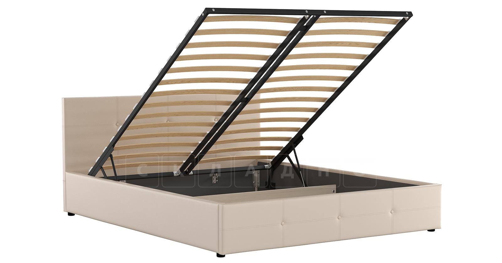 Мягкая кровать Синди 160 см бежевый с подъемным механизмом фото 2 | интернет-магазин Складно