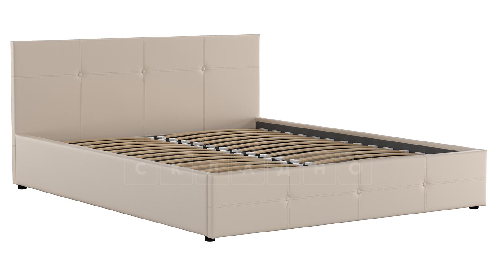 Мягкая кровать Синди 160 см бежевый с подъемным механизмом фото 3 | интернет-магазин Складно