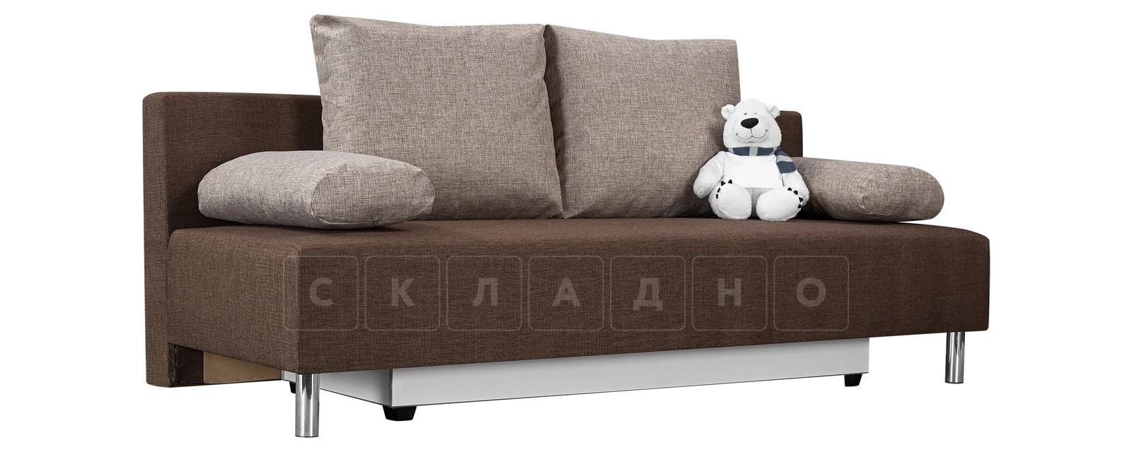 Диван Парма коричневый с бежевым рогожка фото 1   интернет-магазин Складно