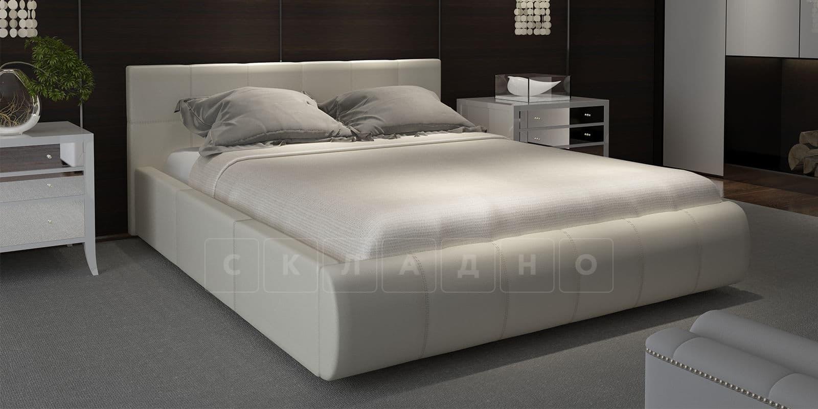 Мягкая кровать Афина 180см молочного цвета экокожа фото 1 | интернет-магазин Складно
