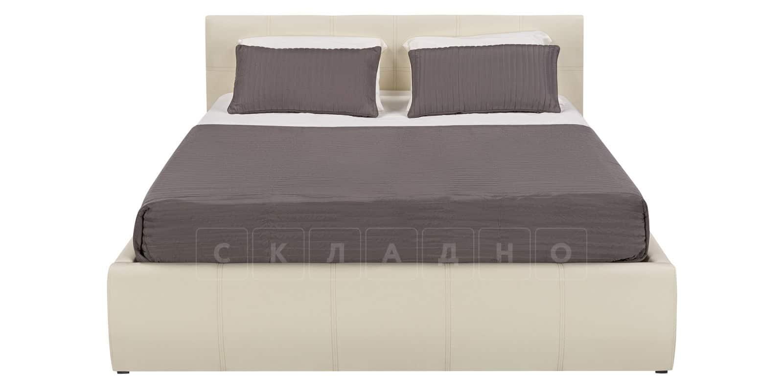 Мягкая кровать Афина 180см молочного цвета экокожа фото 3 | интернет-магазин Складно