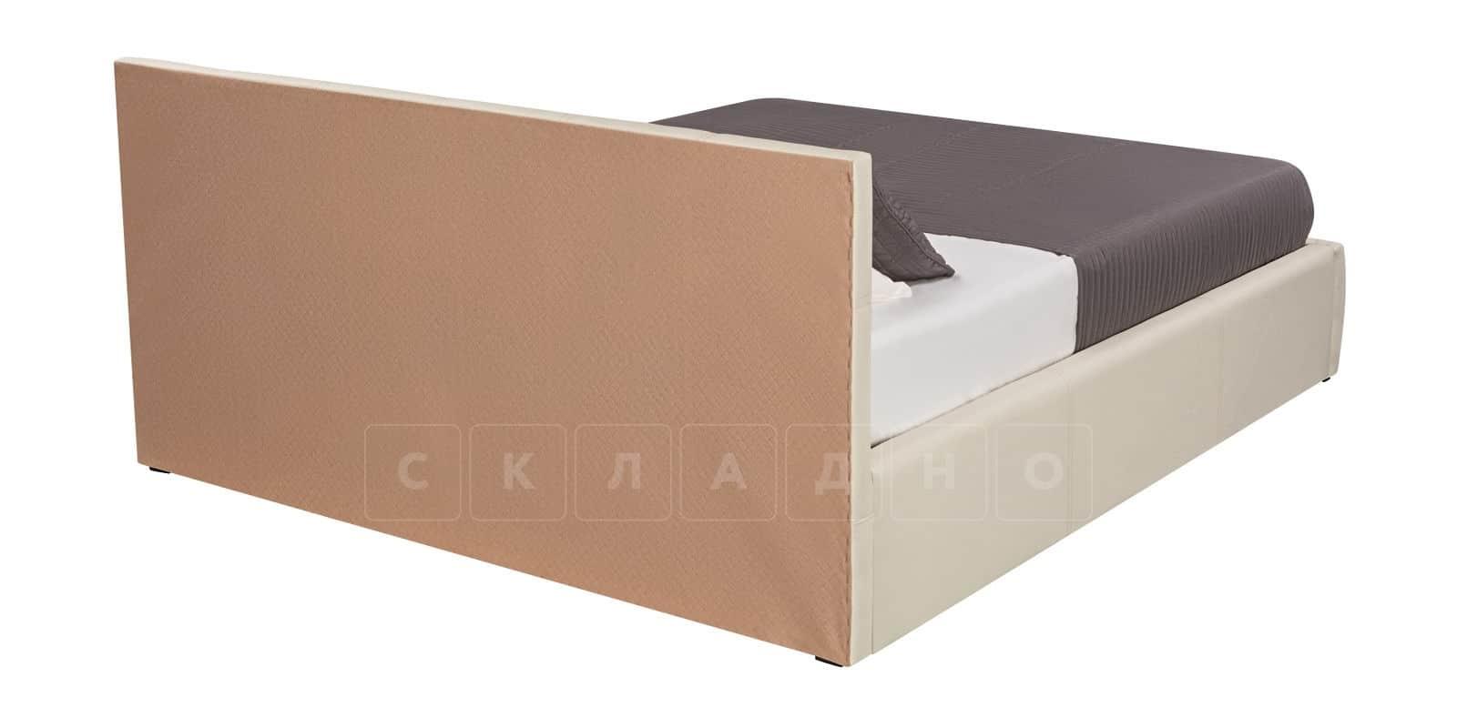 Мягкая кровать Афина 180см молочного цвета экокожа фото 4 | интернет-магазин Складно