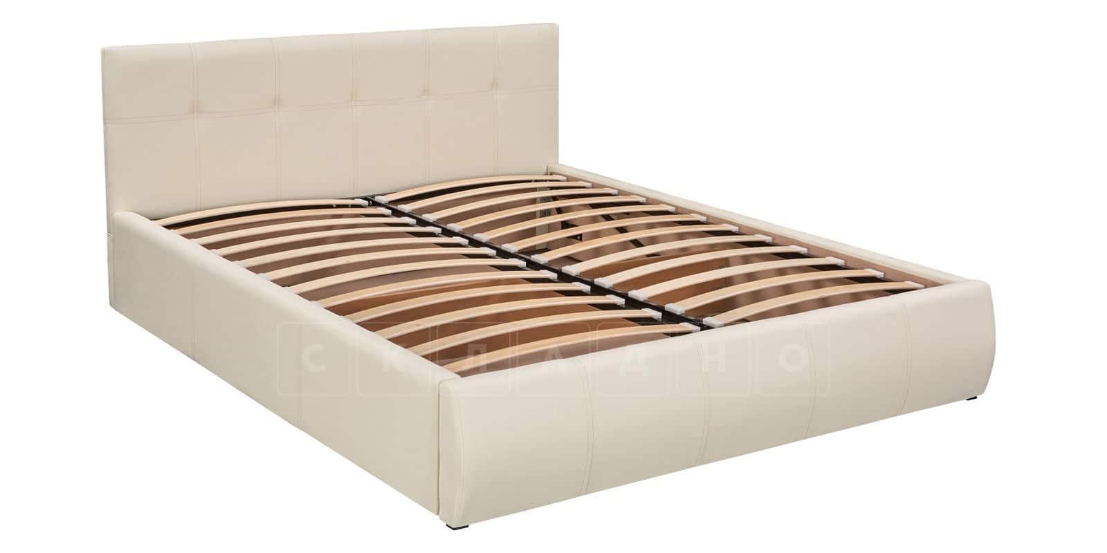 Мягкая кровать Афина 180см молочного цвета экокожа фото 5 | интернет-магазин Складно