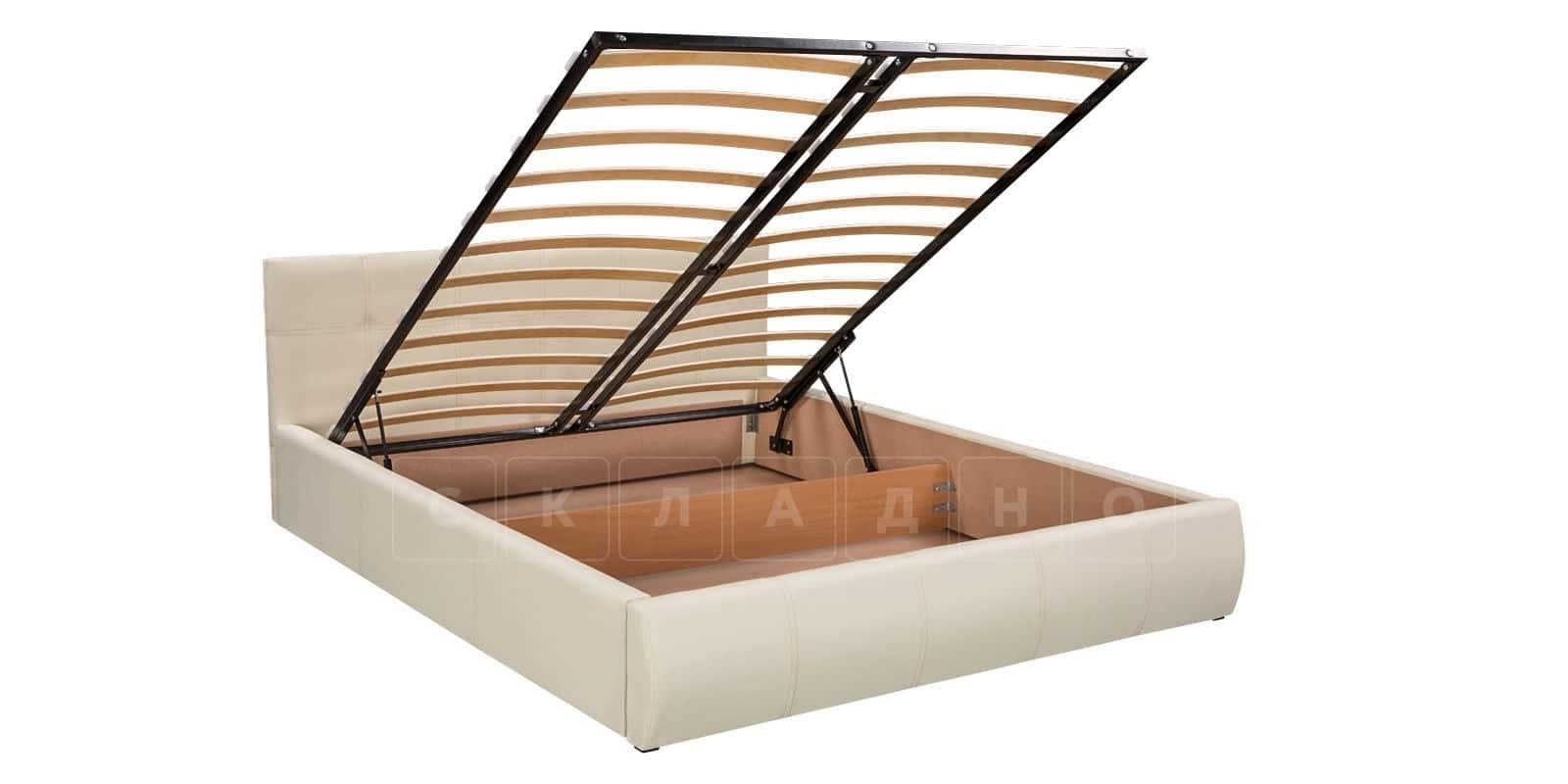Мягкая кровать Афина 180см молочного цвета экокожа фото 6 | интернет-магазин Складно