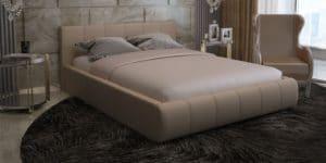Мягкая кровать Афина 140см велюр бежевый-3470 фото | интернет-магазин Складно