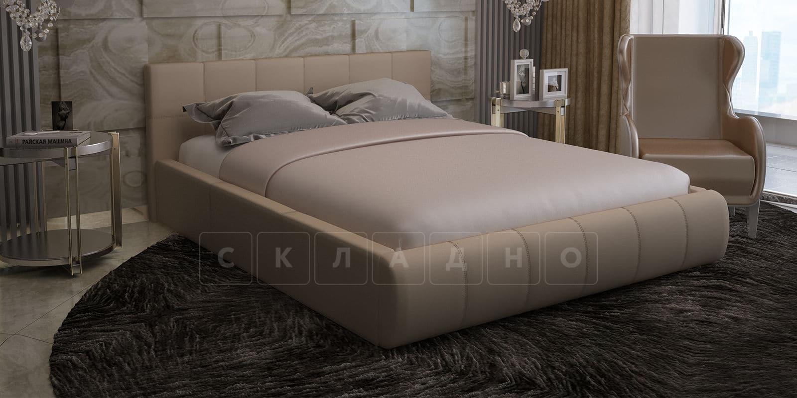 Мягкая кровать Афина 140см велюр бежевый фото 1 | интернет-магазин Складно