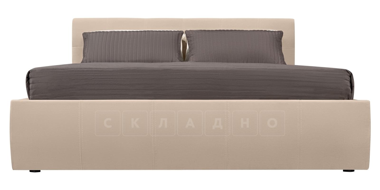 Мягкая кровать Афина 140см велюр бежевый фото 4 | интернет-магазин Складно