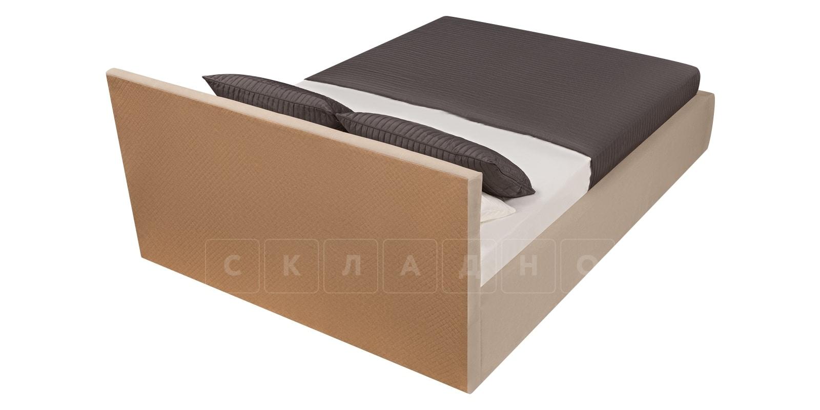 Мягкая кровать Афина 140см велюр бежевый фото 5 | интернет-магазин Складно