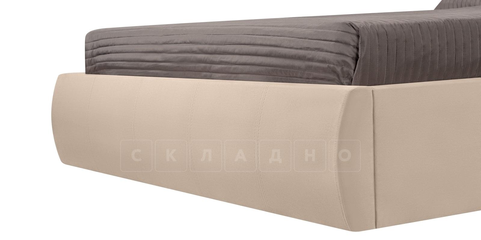 Мягкая кровать Афина 140см велюр бежевый фото 7 | интернет-магазин Складно