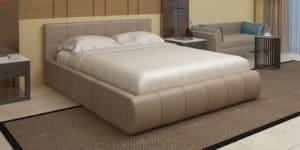 Мягкая кровать Афина 160см экокожа темно-бежевого цвета фото превью | интернет-магазин Складно